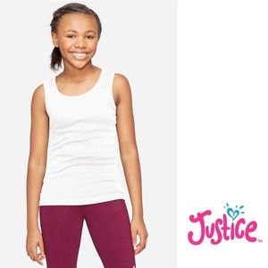NWT Justice White Classic Ribbed Tank Top 12